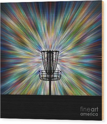 Disc Golf Basket Silhouette Wood Print