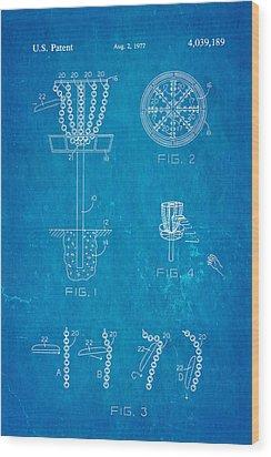 Disc Golf - Frisbee Golf Patent Art 1977 Blueprint Wood Print by Ian Monk