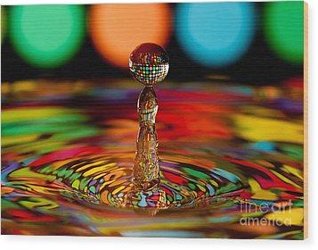 Disco Ball Drop Wood Print by Anthony Sacco