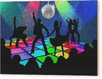 Wood Print featuring the digital art Disco Fever by Nina Bradica
