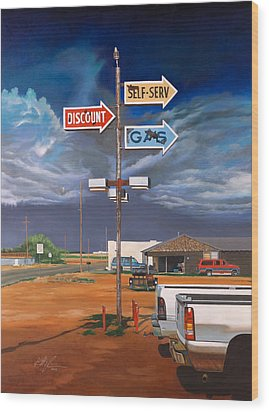 Discount Self-serv Gas Wood Print by Karl Melton