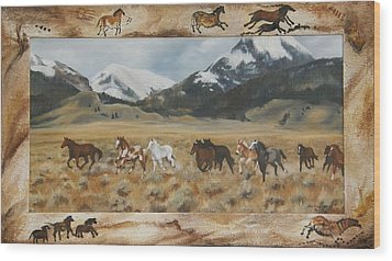 Wood Print featuring the painting Discovery Horses Framed by Lori Brackett