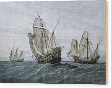 Discovery Of America 1492. The Caravels Wood Print by Everett