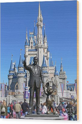 Disney And Mickey Wood Print by Kevin Fortier