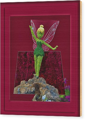 Disney Floral Tinker Bell 02 Wood Print by Thomas Woolworth