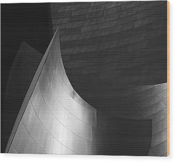 Disney Hall Abstract Black And White Wood Print