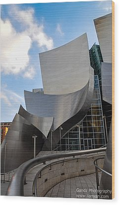 Wood Print featuring the photograph Disney Hall by Gandz Photography