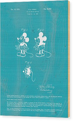 Disney Mickey Mouse Wood Print by Marlene Watson