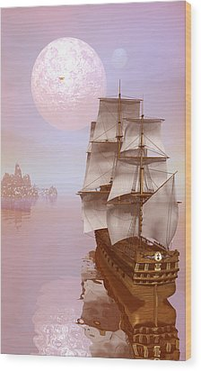 Wood Print featuring the digital art Distant Explorers by Claude McCoy