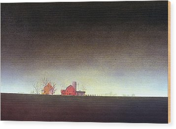 Wood Print featuring the painting Distant Farm by William Renzulli