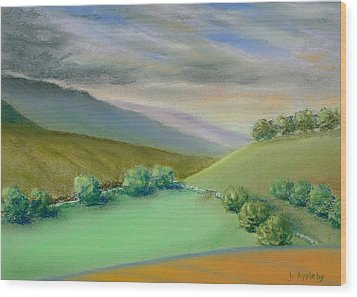 Wood Print featuring the painting Distant Hills by Jo Appleby