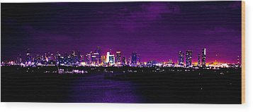 Distant Lights Wood Print by Michael Guirguis