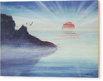 Distant Shoreline Sunrise Watercolor Painting Wood Print by Michelle Wiarda