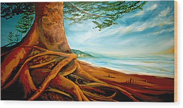 Wood Print featuring the painting Distant Shores Rejoice by Meaghan Troup