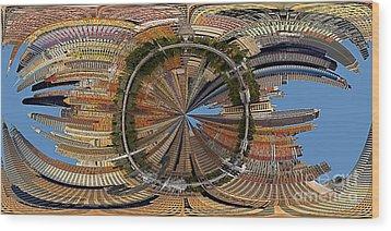 Distorted Lower Manhattan Wood Print by Susan Candelario