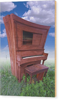 Distorted Upright Piano Wood Print by Mike McGlothlen