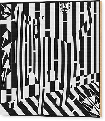 Distracted Cat Maze Wood Print by Yonatan Frimer Maze Artist