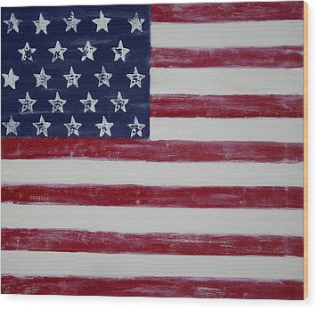 Distressed American Flag Wood Print