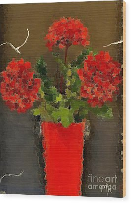 Distressed Red Flowers Pictures Wood Print by Marsha Heiken