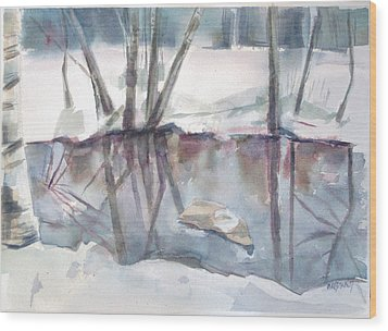 Ditch Pool April Wood Print by Grace Keown