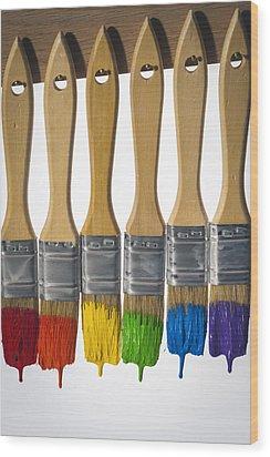 Diversity Paint Brushes Vertical Wood Print