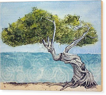 Wood Print featuring the painting Divi Divi Tree by Lynn Babineau