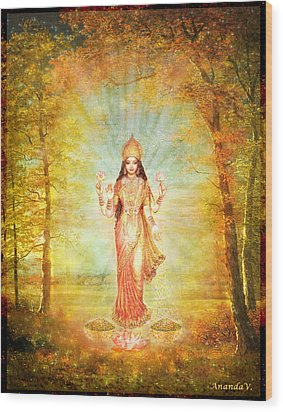 Lakshmi Vision In The Forest  Wood Print by Ananda Vdovic