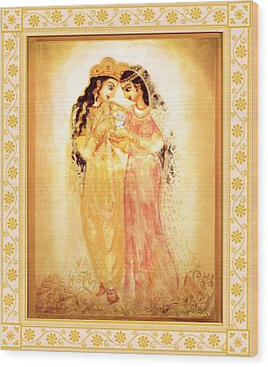 Wood Print featuring the mixed media Divine Love by Ananda Vdovic