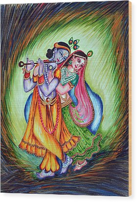 Wood Print featuring the painting Divine Lovers by Harsh Malik