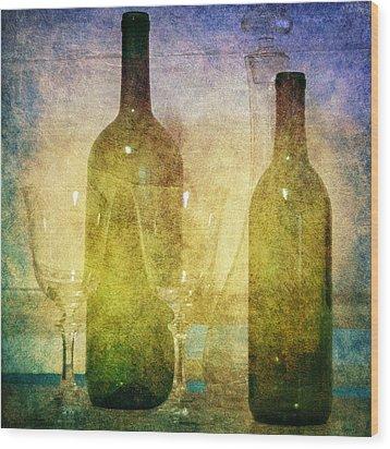 Divine Wine Wood Print by Judy Hall-Folde