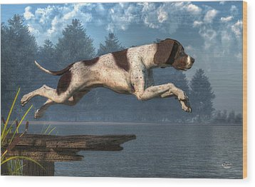 Diving Dog Wood Print by Daniel Eskridge