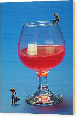 Diving In Red Wine Little People Big Worlds Wood Print by Paul Ge