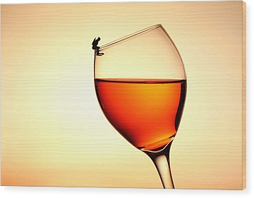 Diving In Red Wine Little People On Food Wood Print by Paul Ge