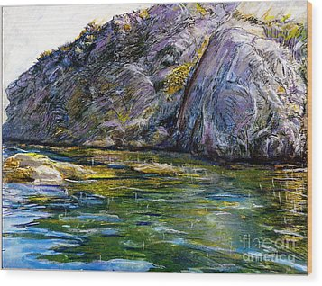 Diving Off Of Lion's Head Catalina Wood Print
