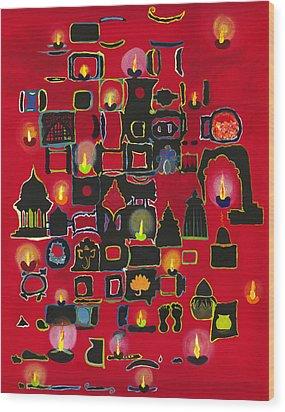 Diwali Diyas Wood Print by Alika Kumar