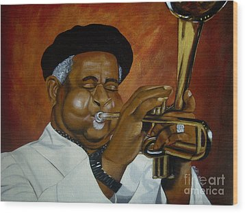 Dizzie Gillespie In Color Wood Print by Chelle Brantley