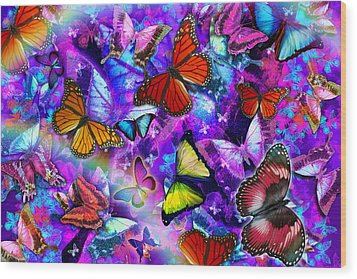 Dizzy Colored Butterfly Explosion Wood Print by Alixandra Mullins