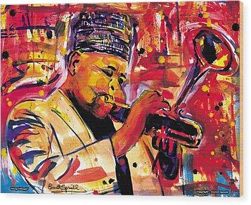 Dizzy Gillespie Wood Print by Everett Spruill