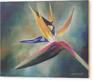 Wood Print featuring the painting Dj's Flower by Lori Brackett