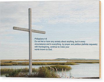 Belin Church Cross At Murrells Inlet With Bible Verse Wood Print by Vizual Studio