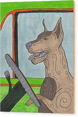 Wood Print featuring the painting Doberman Driving by Susie Weber