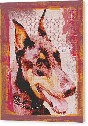 Doberman Love Wood Print by Lisa Noneman