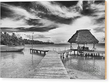 Dock At Drago Wood Print by John Rizzuto