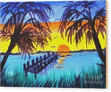 Dock At Sunset Wood Print by Ecinja Art Works