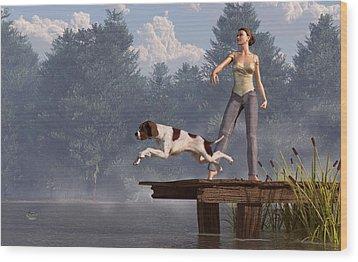 Dock Dog Wood Print by Daniel Eskridge