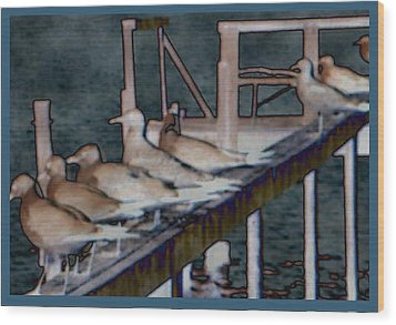 Dock Flock Wood Print by Becky Sterling