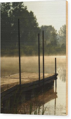 Dock In The Mist Wood Print by Kimberleigh Ladd