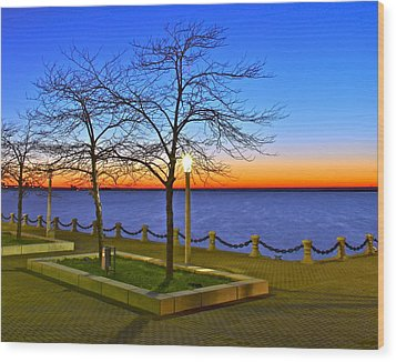Dock Of The Bay Wood Print by Frozen in Time Fine Art Photography