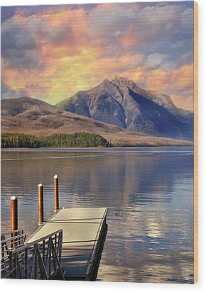 Wood Print featuring the photograph Dock On Lake Mcdonald by Marty Koch