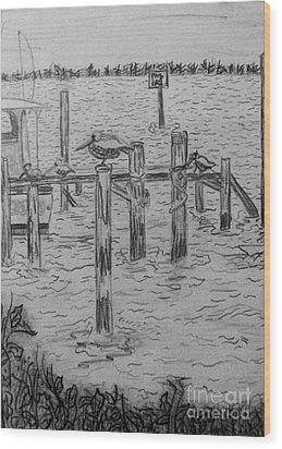 Dock Sketch Wood Print by Megan Dirsa-DuBois